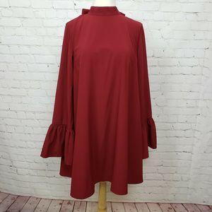 Lulus Mock Neck Ruffle Sleeve Shift Dress Red